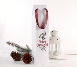 Cardboard wine box with Christmas print
