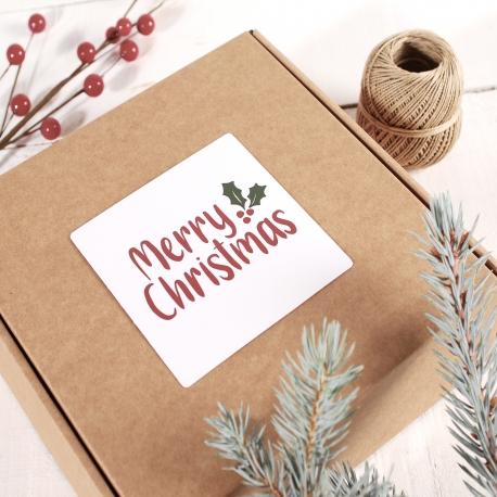 Etiqueta cuadrada Merry Christmas