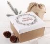 Caja cuadrada con tapa y estampado navideño