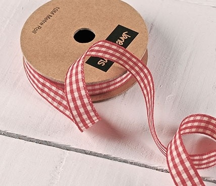 Red and White Gingham grosgrain ribbon
