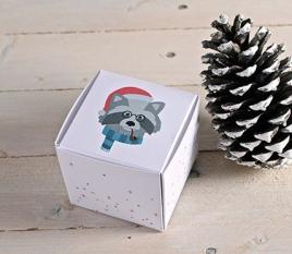 Cajas cuadradas navideñas Mapache