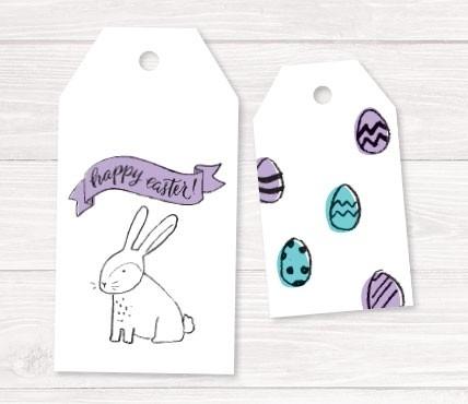 Etiquetas huevos y conejos de Pascua