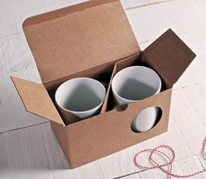 Schachteln für zwei Tassen in Kraftpapierfarbe