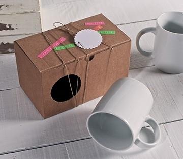 Caja lisa para dos tazas