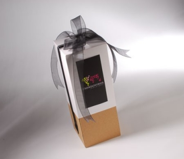 Gift box for wine bottles with a ribbon