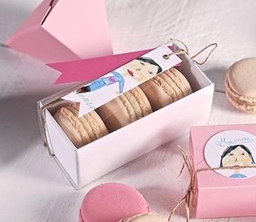 Cajas para regalar macarons en bodas