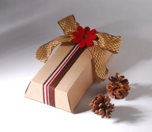 Gift box with flower and Christmas ribbon