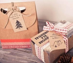 Bolsa regalo con etiqueta para Navidad