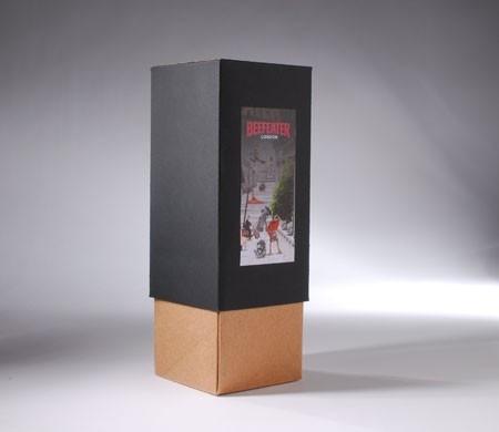 Elegante caja regalo bicolor para botellas
