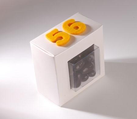 Caja transparente para chocolates