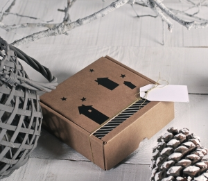 Square shipping box with wall sticker