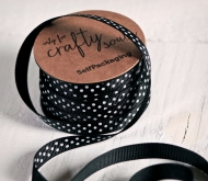 Black and White spotty Grosgrain ribbon