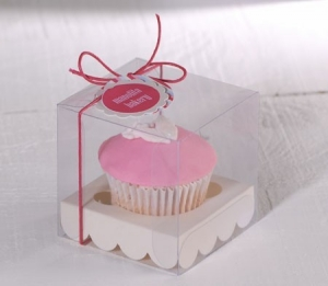 Cupcake box for christening favors