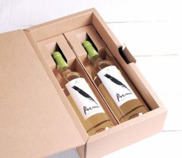 Caja con asa para dos botellas