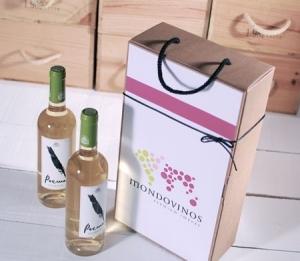 Caja decorada para dos botellas