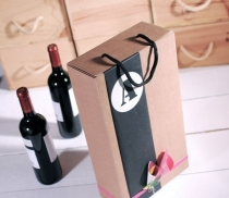 Wine bottle box with hanger