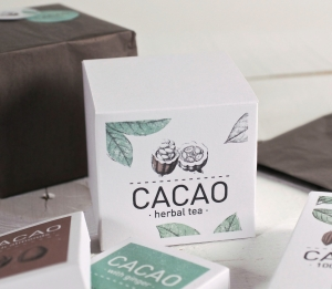 Caja cuadrada impresa para té