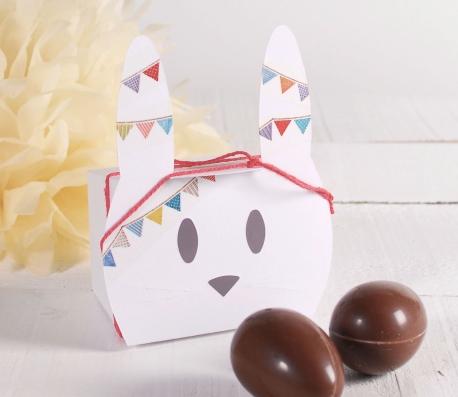 Simpática caja conejo para Pascua