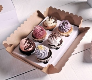 Box for 6 cupcakes with clear lid