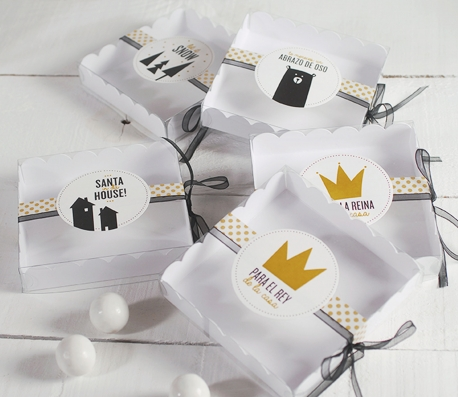 Caja regalo para macarons decorada