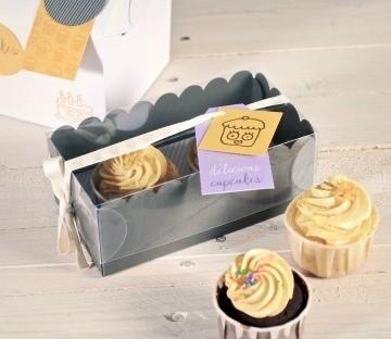 Cajita gris para dos cupcakes