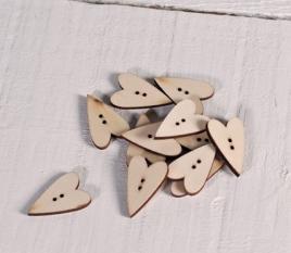 Bottoni cuore in legno naturale