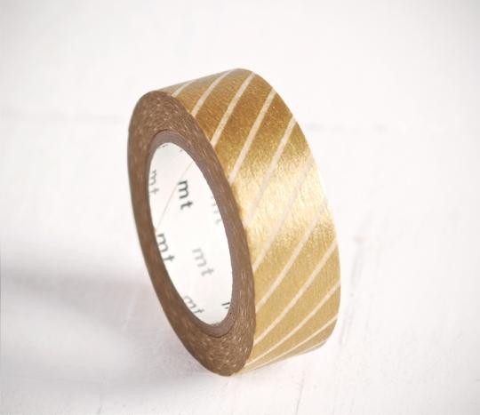 Washi tape dorado a rayas