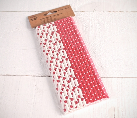 Pajitas de papel decoradas rojas