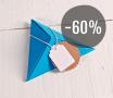 Kit di 4 scatole di cartone triangolare di colori con accessori