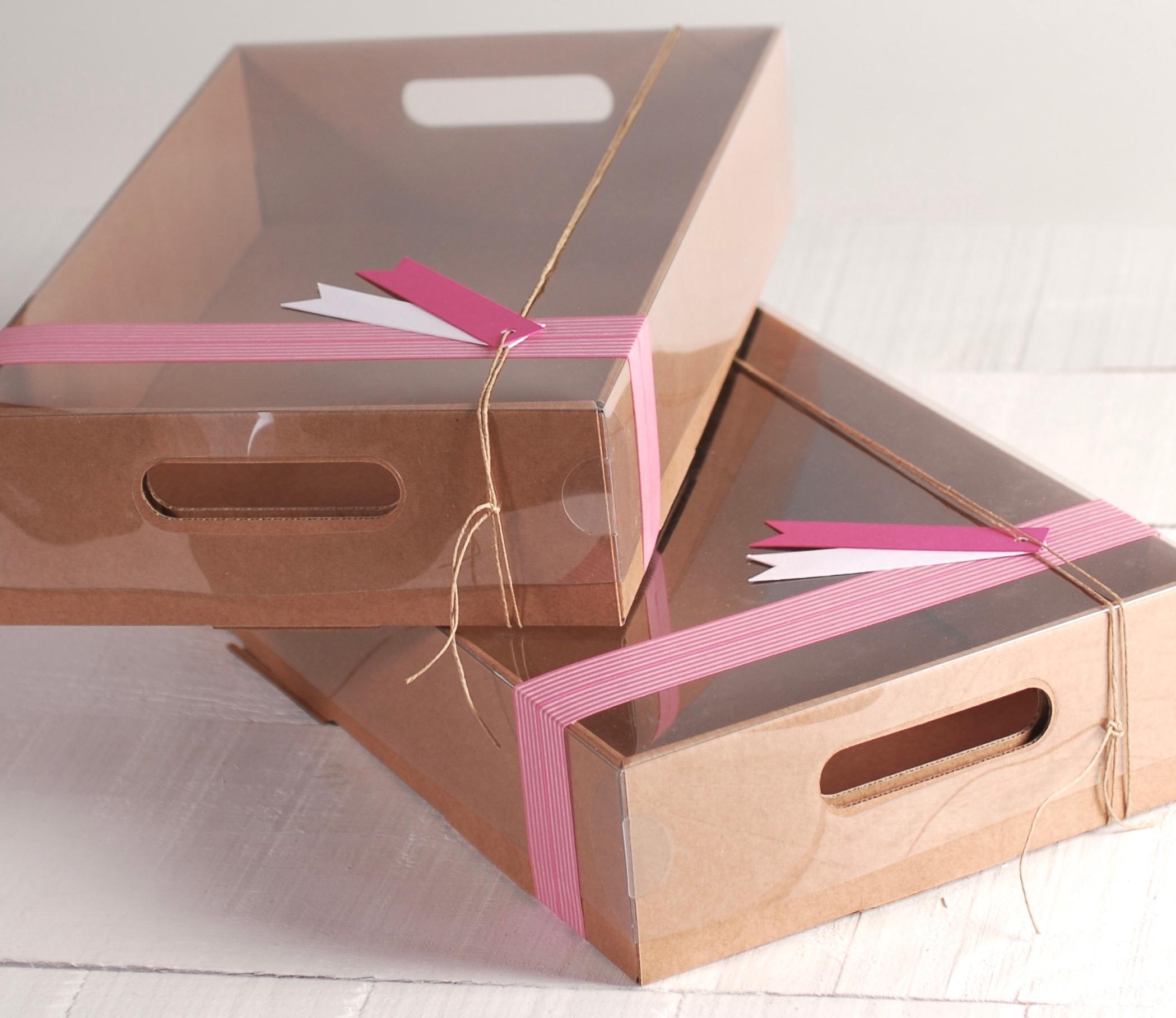 Bandeja De Cart N Para Cupcakes Con Asa ~ Cajas De Carton Decorativas Grandes
