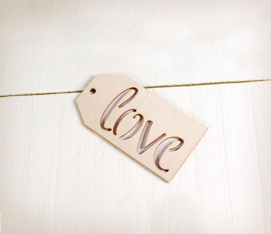 Etichetta Love in legno