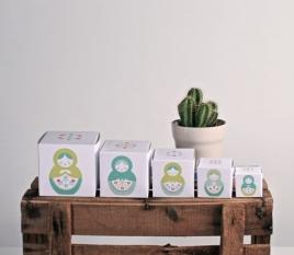 Printed boxes. Matryoshka dolls