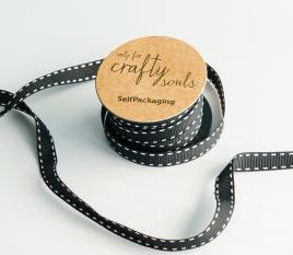 Black and White spotty Grosgrain ribbon