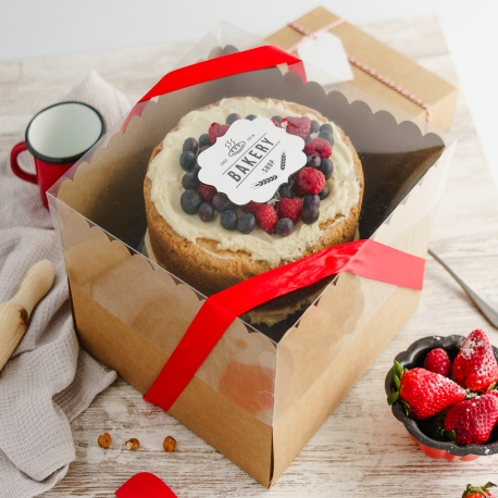 Caja para tartas con tapa transparente