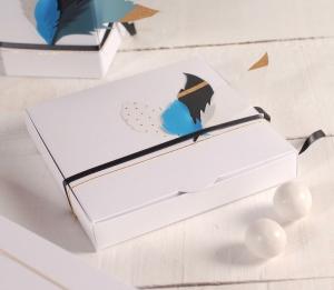 Flache Geschenkbox mit Federn