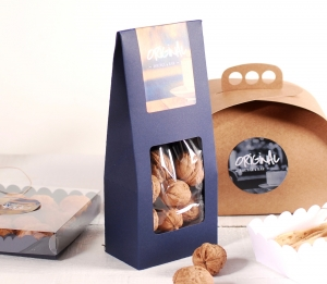 Box for nuts with a window