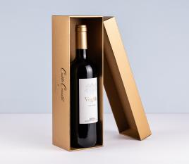Caja de vino forrada individual con tapa