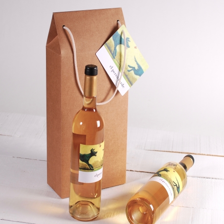Large wine box with handle decoration
