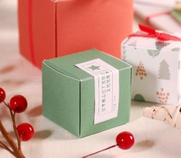 Decoración navideña sencilla caja cuadrada