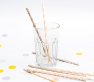 Paper Straws with Brown Stripes