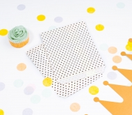 White paper bags with black spots