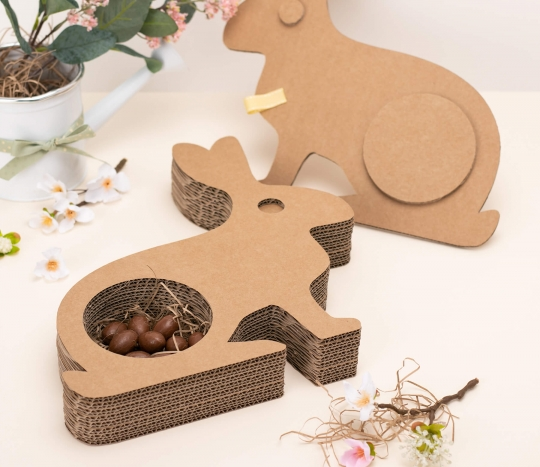 Rabbit-shaped cardboard box.