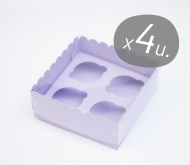 Pack of 4 cardboard boxes for 4 cupcakes