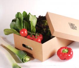 Caja de cartón con tapa para verduras