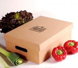 Schachtel aus Karton mit Deckel für Gemüse