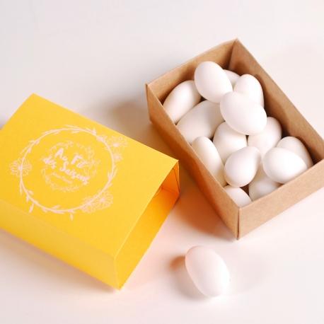 Gelbe Streichholzschachtel für Geschenk