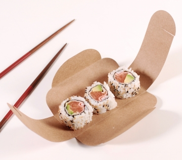 Box for three pieces of sushi