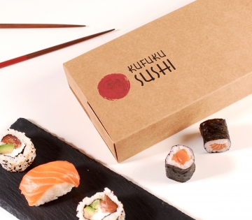 Sushi box with compartments