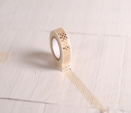 White washi tape with gold circles